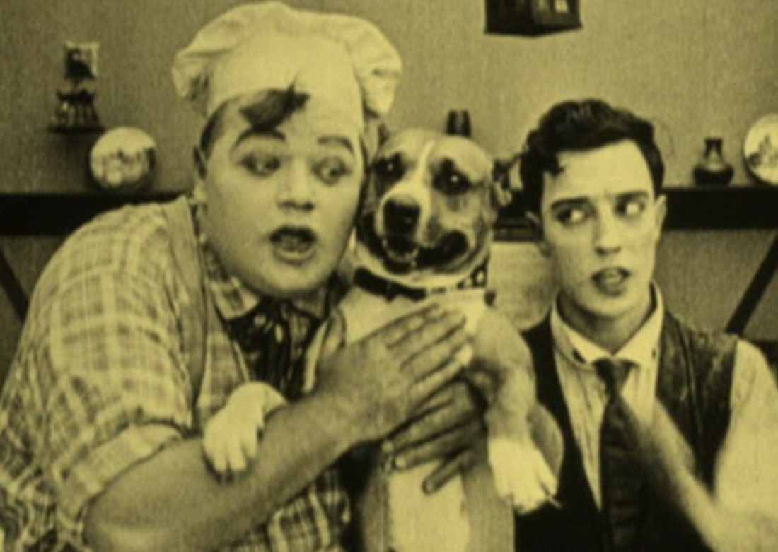 Arbuckle, Keaton, and Pit Bull in The Cook 1918