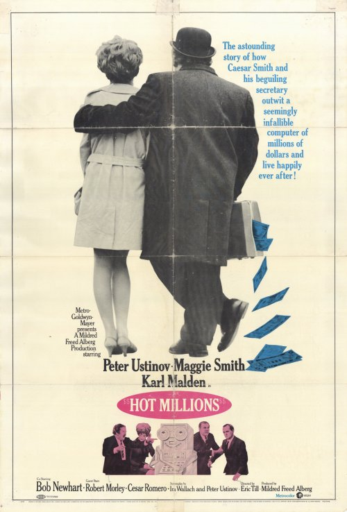 Hot Millions movie poster, Peter Ustinov, Maggie Smith